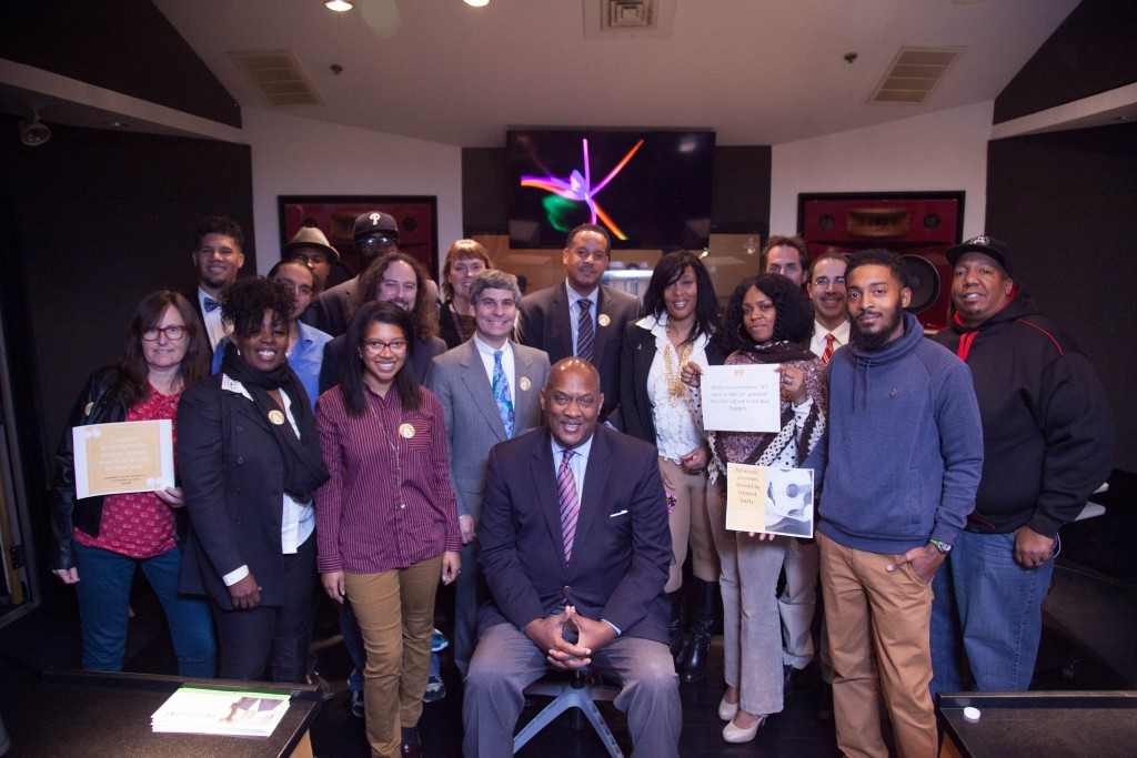 Photo of members of Philadelphia Chapter of The Recording Academy meeting with Dwight Evans