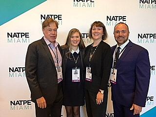 Photo of Priscilla Mattison with Jeff Liebenson, Marianne Lecron and Ivan Parron at NATPE Miami